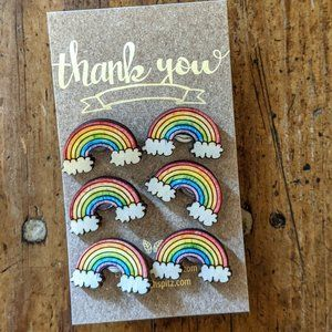 Rainbow Push Pins Set of 6 Wooden Pins NWT